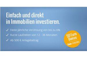 Produktbild von Einfach und direkt in Immobilien investieren – feste jährliche Verzinsung von bis zu 6%  – kurze Laufzeiten – ab 500€ Anlagebetrag – 50€ Bonus – Code: EHB09NU