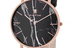 Produktbild von Black OAK Quarzuhr, Lederarmband schwarz